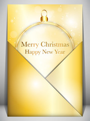 Merry Christmas Card Ball Gold Envelope