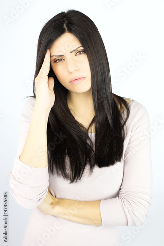 Unhappy woman with bad headache sick