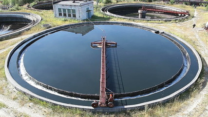 Rotation of huge circular sedimentation tank in sewerage