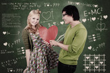 Cute nerd guy and girl giving love in class