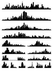 set of detailed city ​​silhouette vector