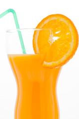 Orange juice and slice of orange isolated on white