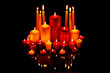 Christmas candles on black with reflection