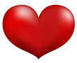 Red heart isolated on white