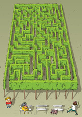 Landscape Park Trees Maze Game ... solutin in hidden layer