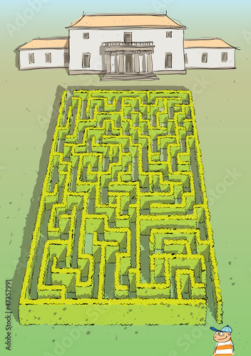 Landscape Hedge Maze Game ... solution in hidden layer