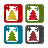 Concept greeting card with colours Christmas tree