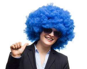 Woman With Blue Fake Hair