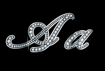 Script Diamond Bling Aa Letters