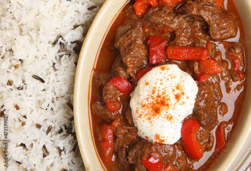 Hungarian Goulash with Rice and Sour Cream