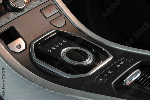 modern car interior, knob gear stick