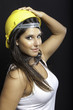 Beautiful girl with safety helmet and glass color image