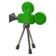 Green movie camera on white background