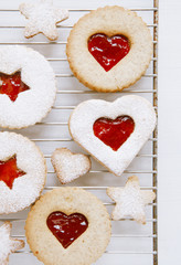 linzer homemade cookies with heart shape raspberry jam window