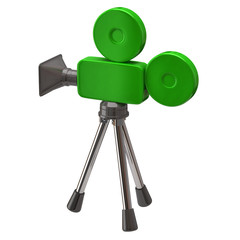 Green movie camera on white background
