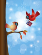 Cardinal Pair with Tree and Snowflakes Illustration