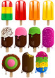 Vector set of 11 colorful fruit and chocolate popsicles