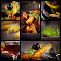 Penne with olives collage