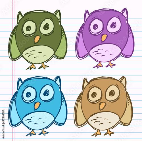 Sketch Doodle Drawing Owl Bird Vector