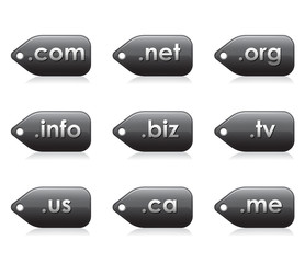 Domains extentions glossy buttons