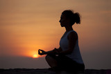 Spirituality woman sit in pose lotus, health concept