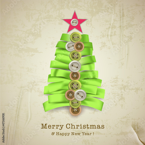 Christmas card with creative christmas tree made of ribbons