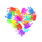 Fototapety child hand prints in heart form