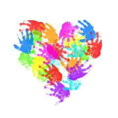 child hand prints in heart form