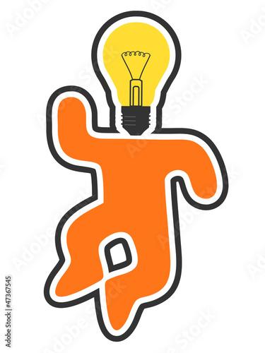 工作快乐的思考性质成功数字橙色欢乐灯泡现代老板设计跳转身体风格
