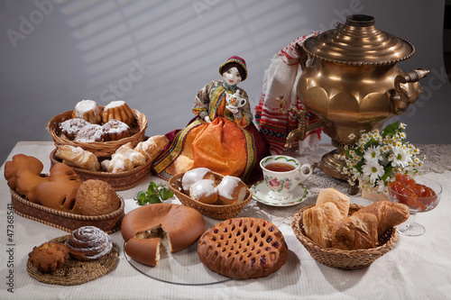 Still Life With Bread And Samovar
