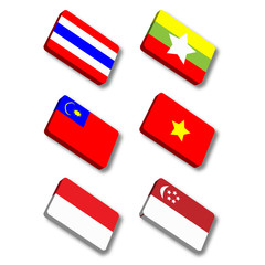 Glossy vector flags. Set three of flags from Asia