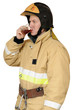 Firefighter drinking black tea
