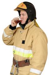 Firefighter drinking black tea
