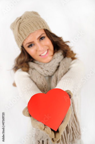 Young girl with heart