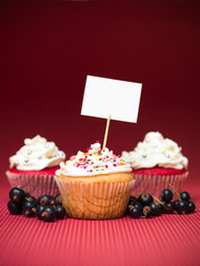 muffins sign board fruit red