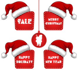 Rectangle Christmas New Year Sale Tag with Cap