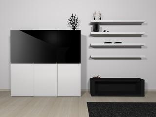 Möblierung schwarz weiß