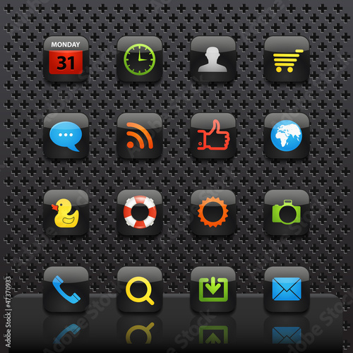 Mobile interface with color icons template