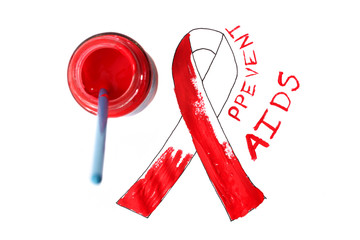 AIDS ribbon,paint and brush. Prevention