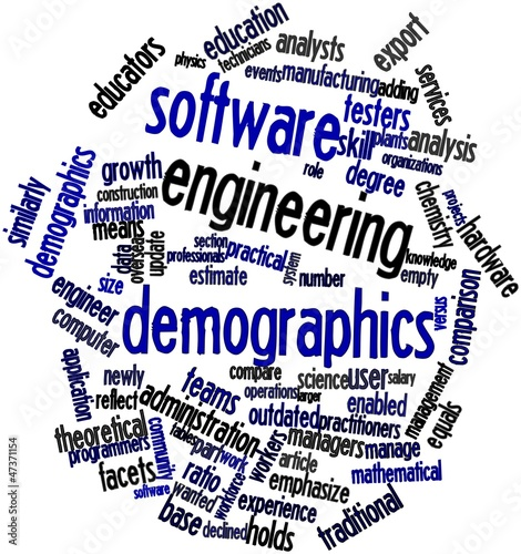 Word cloud for Software engineering demographics