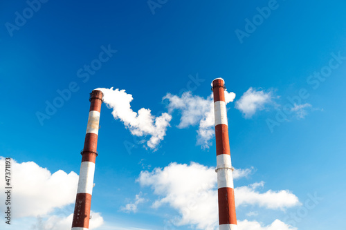 Factory chimneys.