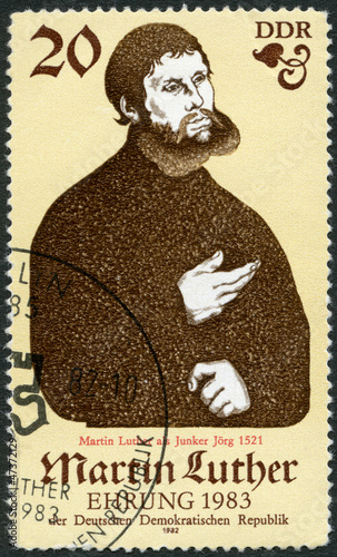 GERMANY - 1982: shows Portrait of Martin Luther (1483-1546)