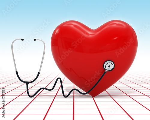 3d heart medical examination with stethoscope