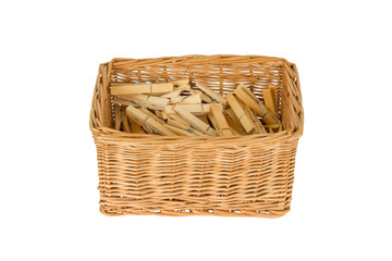 Basket with wooden clothespins