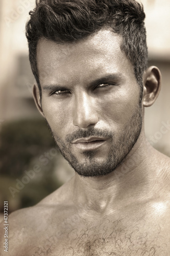 Stylized close detailed portrait of masculine handsome man