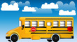 School bus with cloudy background