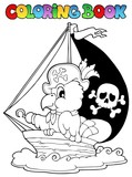 Coloring book pirate parrot theme 1 - 47372913