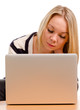 Young woman concentrating on her laptop