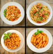 Various recipes of italian pasta