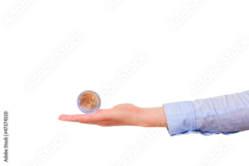 Outstretched hand with euro coin